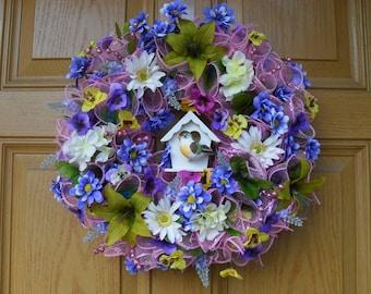 Beautiful Spring/Summer Deco Mesh Wreath