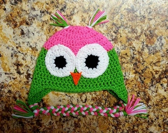 6-9 Month Owl Hat with braids