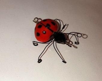 Lady Bug Ooak, Collective, Sculpture, Figurine, Decoration, Pendant, Pin(Broach), Art