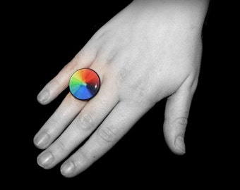 Rainbow Ring, COLORWHEEL, Colorful ring, Art Ring, Statement Ring, Unique Ring, Resin Jewelry, Gifts for Her, Wearable Art, ARTBYSANDRAV