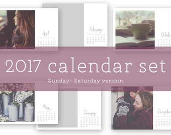 2017 calendar photo templates + month digital brushes (sun - sat)