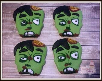 "Hand Decorated Zombie sugar cookies 3""-1 dozen"