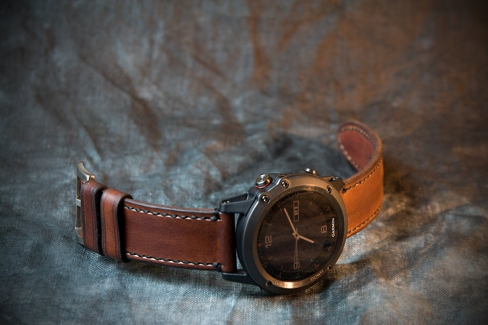 fenix 3 and 5 leather watch strap whiskey. Black Bedroom Furniture Sets. Home Design Ideas