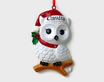 SHIPS FREE - Snowy Owl Personalized Ornament - Hand Personalized Christmas Ornament