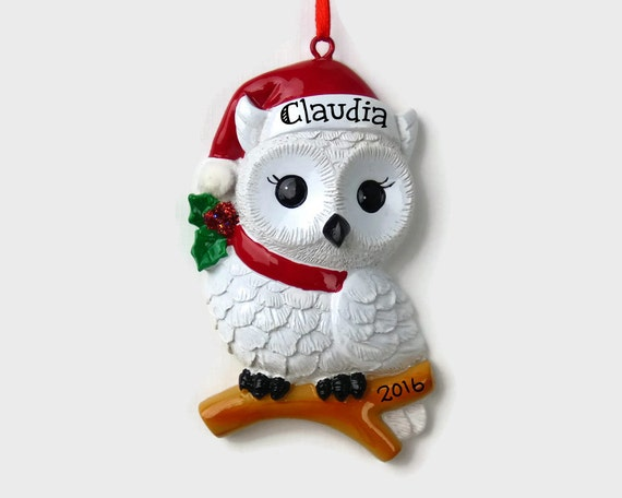 Personalized snowy owl ornament