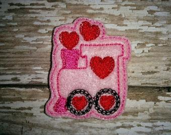 Set of 4 Valentine Choo Choo Heart Love Train Glitter Feltie Felt Embellishment Bow! Birthday Party Baby Shower Decoration