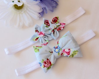 Flower Headband, Bow Headband, Blue Headband, Baby Bow Headband, Baby Headband, Baby Flower Headband, Girls Headband, Floral Headband