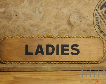 "Vintage Wood ""Ladies"" bathroom sign. Item 438"