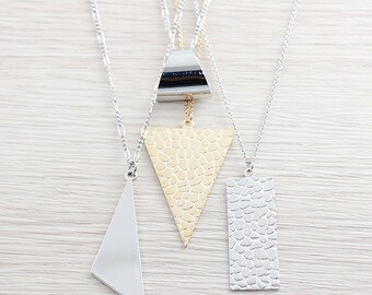 Origianl Rhodium or Gold Plated, Simple Geometric Triangle or Rectangle Pendant, Necklace