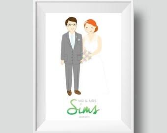 Custom Wedding Portrait (Giclee Print) Unique Wedding Gift / Anniversary Gift