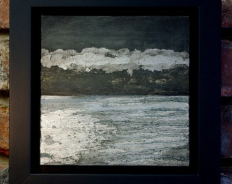 Sea-dream, oil on metal leaf, Painting 20cm x 20cm, Frame 28cm x 28cm x 3cm deep