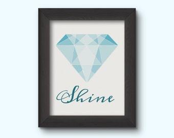 "Gemstone Art Print - ""Shine"" - INSTANT DOWNLOAD"