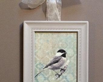 Chickadee Bird Print Framed Wall Art Hanging