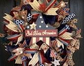 Americana red, white, and blue burlap wreath, God Bless America wreath, 4th of July wreath, 4th of July deco mesh wreath, patriotic wreath