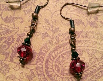 Red & Black Crystals on Bronze Dangle Earrings