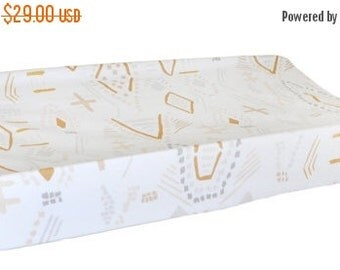 30% OFF Gold & Gray Changing Pad Cover | Fits Contoured or Flat Changing Pads | Head West Collection