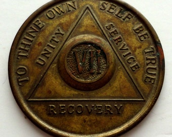 Vintage Alcoholics  Anonymous Seven Year Medallion