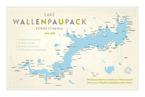 Lake wallenpaupack pa print 39 map 39 for Lake wallenpaupack fishing