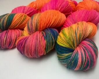 Hand dyed superwash merino Sport Weight yarn - Hypercolour
