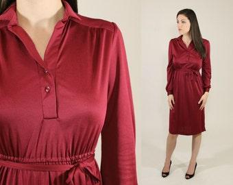 Vintage 1970s Silky Maroon Knee Length Dress - Long Cuff Sleeve Empire Tie Waist with Collar -  Small / Medium