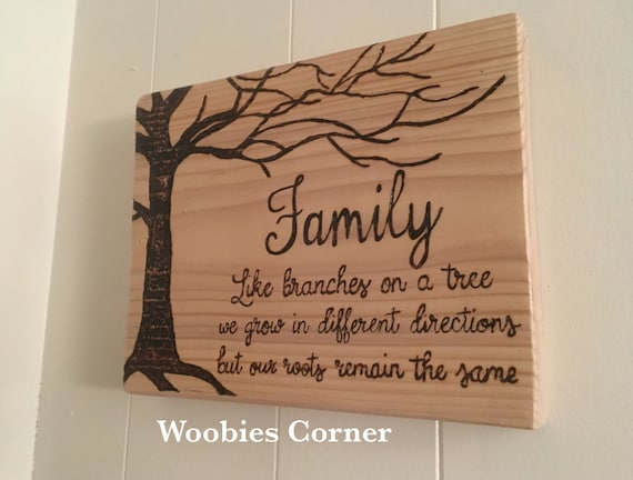 Family Quote Sign Wooden Family Sign WOOD BURNED By