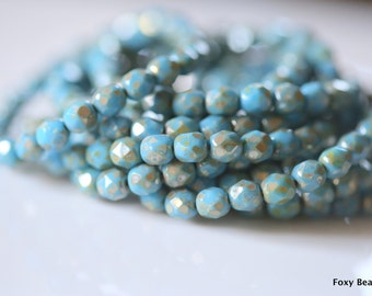 6mm Faceted Round Czech Glass Beads, Light Sky Blue with Silverish Picasso Style Finish Fire Polished Faceted Beads CZFB004