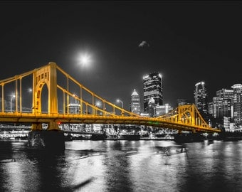 Selective color of a full moon over the Andy Warhol Bridge in Pittsburgh - Mounted Print