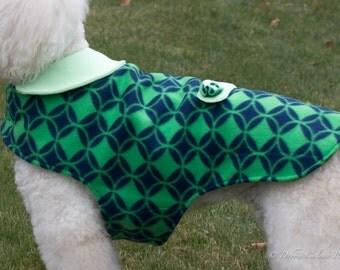Fleece Dog Coat - Navy with Green Diamonds
