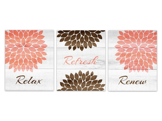 Items similar to coral and brown bathroom decor bathroom for Bathroom decor coral