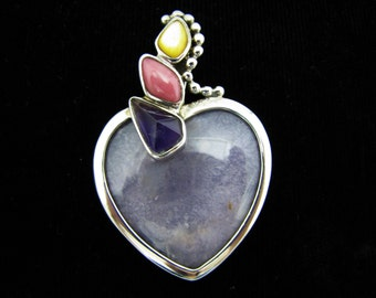 Lovely Lavender Chalcedony Heart Shaped Pendant set in Sterling Silver