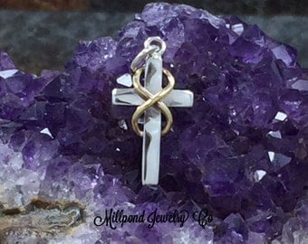 Cross Charm, Cross with Infinity Symbol, Sterling Silver Cross Charm, Religious Charm, Christian Charm, Christian Pendant, PS01619
