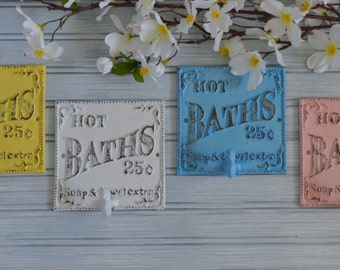Distressed Bath 5 Cents Wall Hook. Bathroom Hook. Towel Hook. Robe Hook. Cottage Chic, Shabby, Western, Vintage Inspired