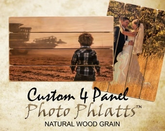 4 Panel ©Photo Phlatt, Natural Wood, Photo on Wood, Engagement Picture, Wedding Photo Pallet, Picture Frame, Pallet Wall Art, Custom Photo