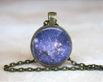 BLUE NIGHT SKY Pendant •  Stars •  Space •  Galaxy •  Universe •  Milky Way • Gift Under 20 • Made in Australia (P0184)