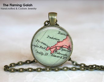 LANDS END Map Pendant • Vintage CORNWALL • Cornish Map • Map of Cornwall • South of England • Gift Under 20 • Made in Australia (P0498)