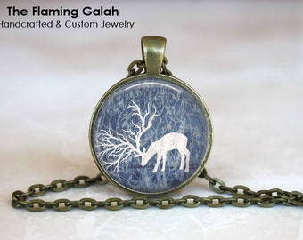 REINDEER in MOONLIGHT Pendant •  Christmas Stag •  Whimsical Stag •  Patronus •  Wild Life • Gift Under 20 • Made in Australia (P0175)