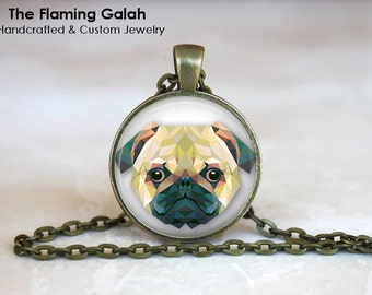 PUG FACE Pendant •  Geometric Pug •  Pug Pin Badge •  Gift for Dog Lover • Gift Under 20 • Made in Australia (P0202)