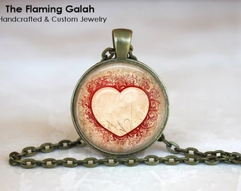 HEART Pendant •  Love Jewellery •  Love Heart •  Valentines Gift •  Patterned Heart • Gift Under 20 • Made in Australia (P0715)