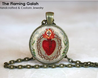 SACRED HEART Pendant. Sacre Coeur. Flaming Heart. Jesus Christ. Necklace / Key Ring.  Handmade in Australia (P0638) **Free Shipping**