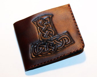 Leather wallet with mjolnir, great leather item, brown men's wallet, credit card wallet, gift for men, leather wallet with mjolnir.