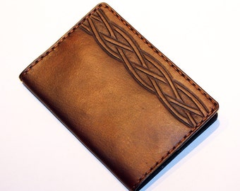 Leather Passport Cover With Celtic Knot! Leather Passport Holder! Leather Travel Passport Cover! Brown Handmade Passport Cover! SALE