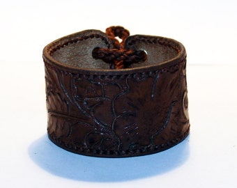Brown Leather Cuff Bracelet! Great Handmade Bracelet! Nice Gift For Women! Made in Latvia! Unique item! Best gift!