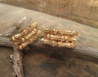 rare gold tone les bernard half loop bamboo clip earrings