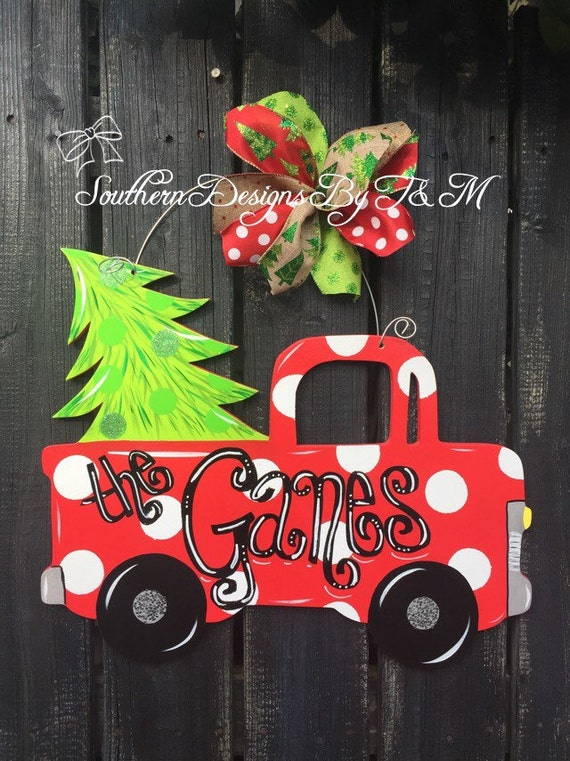Christmas pick em up truck door hanger by southerndesignsbytm