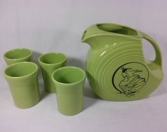 Vintage dancing lady fiestaware chartreuse lime green water picture with 4 glasses lead free