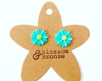 Turquoise Daisy Studded Earrings
