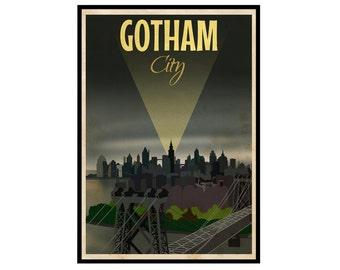Batman Returns: Gotham City Vintage Travel Poster