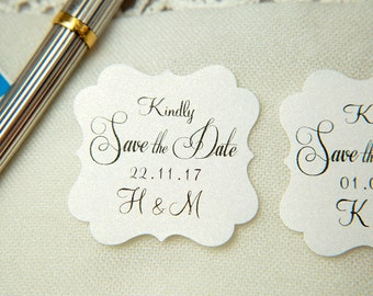 Snow White Printed Save The Date seals. Custom printed Wedding stickers. personalised Pearlised Envelope seals. Wedding favours