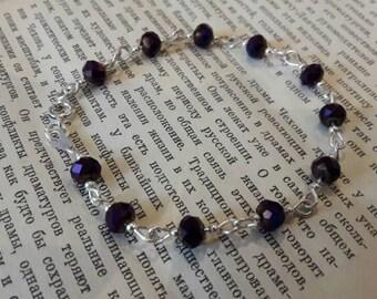 Sterling silver purple crystal bracelet