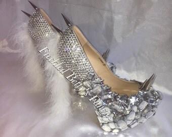 Unicorn fluffy, crystal customised Heels